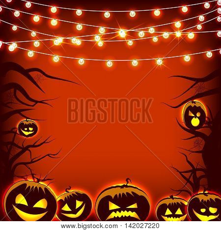 Vector greeting card cute positive emotional holiday icons pumpkin and trees orange background night Halloween. Lights and garland. Festival mood, smile, laughter, anger face