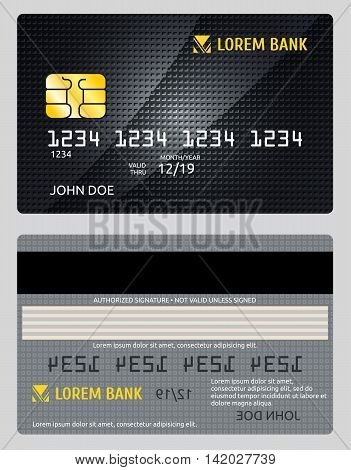 Detailed glossy vector credit card isolated on gray background. Plastic card for payment, illustration banking credit electronic card
