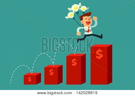 businessman with idea bulbs jump over red bar charts.Idea and Growth concept.