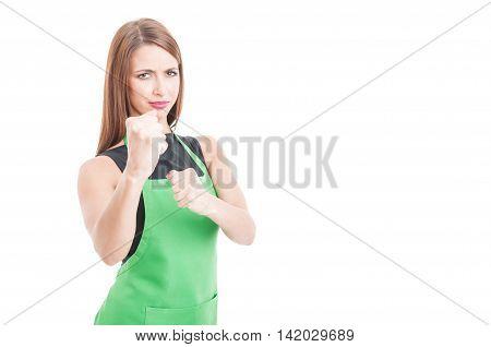 Furious Female Employee Kicking Someone