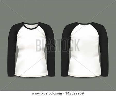 Women's black raglan sweatshirt long sleeve in front and back views. Vector template. Fully editable handmade mesh. EPS 10