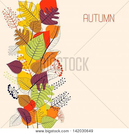 Decoration with Autumn colored stylized leaves on pink background