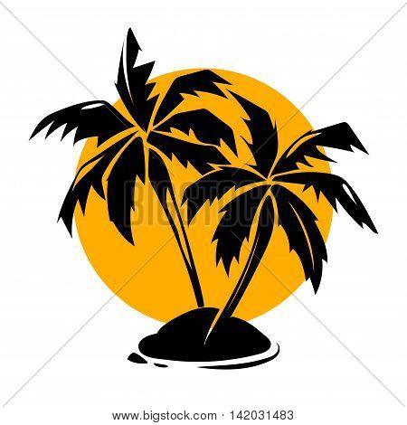 Tropical paradise palm trees and sun logo. Travel paradise and summer design, vector illustration