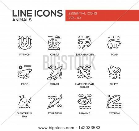 Animals - set of modern vector plain line design icons and pictograms of reptiles and fish. Python, cobra, salamander, toad, frog, shark, hammerhead shark, skate, giant devil ray, sturgeon, piranha, catfish