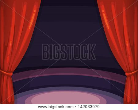 vector background illustration with red curtain and big arena of circus. Picture with place for your text. Isolate on dark background. Decoration frame for your design project.