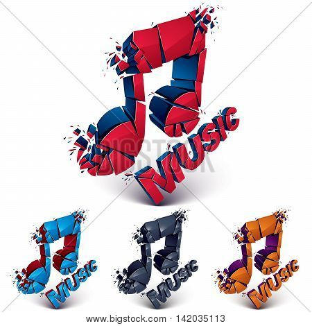 Collection Of 3D Vector Demolished Musical Notes, Music Word. Dimensional Groove Design Elements Wit