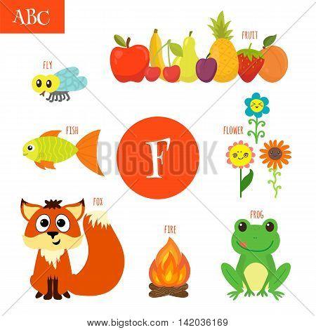 Letter F. Cartoon Alphabet For Children. Flower, Fox, Fire, Frog, Fish, Fruit, Fly