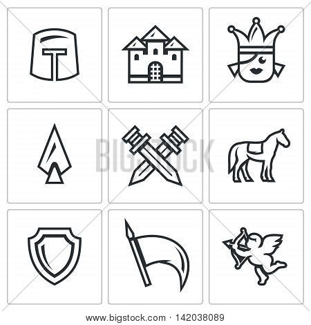 Helmet, Building, Girl, Spear, Crossed Swords, Animal, Shield, Flag, Cupid