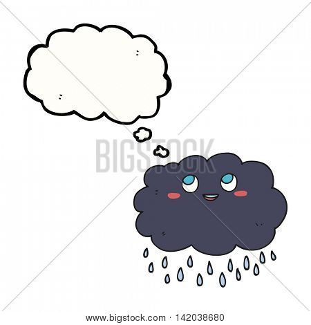 freehand drawn thought bubble cartoon raincloud