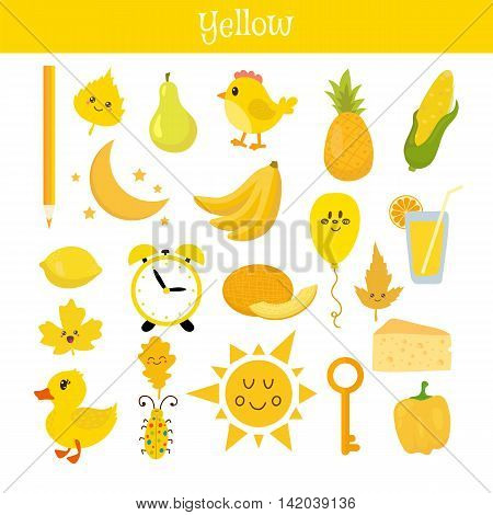 Yellow. Learn The Color. Education Set. Illustration Of Primary Colors
