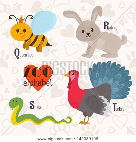 Zoo Alphabet With Funny Animals. Q, R, S, T Letters. Queen Bee, Rabbit, Snake, Turkey