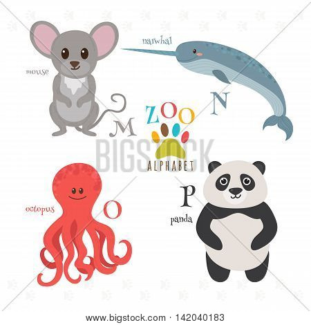 Zoo Alphabet With Funny Cartoon Animals. M, N, O, P Letters. Mouse, Narwhal, Octopus, Panda