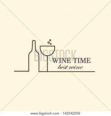 Vector grape vine and wine bottles, negative space logo design template. Colorful trendy illustration. Concept for wine list, bar menu, alcohol drinks, wine label.