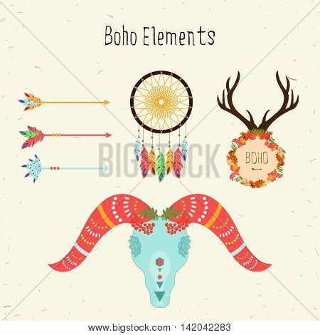 Boho elements. Vector ethnic set with arrows and sheep skull floral peace pattern deer antlers and dream catcher.