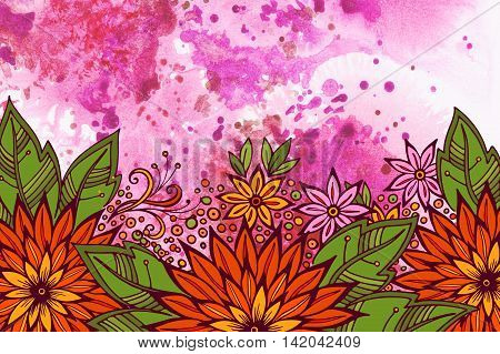 Floral Pattern, Symbolic Flowers and Green Leafs, Colorful Ornament on Hand-Draw Watercolor Painting Background
