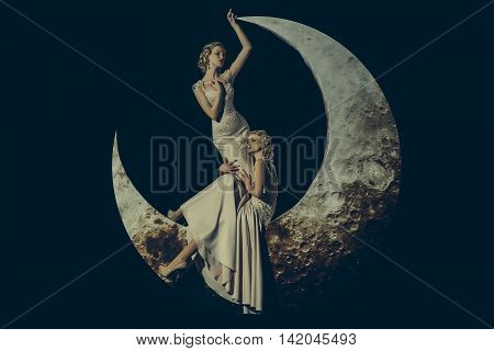 Woman In Dress On Moon