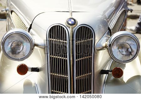 Zaporozhye, Ukraine - May 17, 2014: First All-Ukrainian festival of vintage cars Zaporozhye Gate . 118 cars and 12 motorcycles participated in the festival.