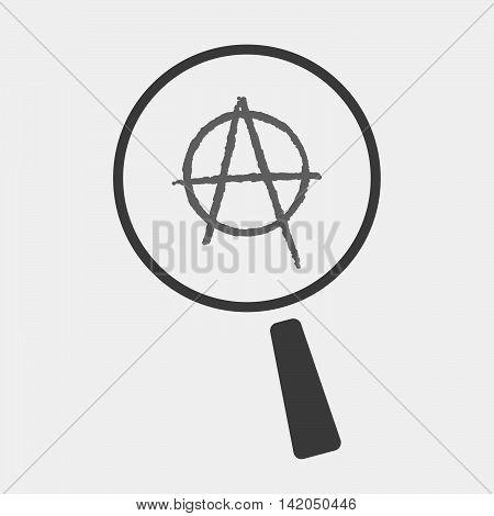 Isolated Magnifier Icon With An Anarchy Sign