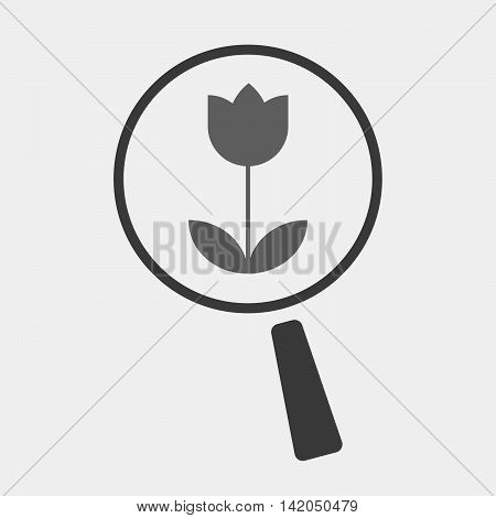 Isolated Magnifier Icon With A Tulip
