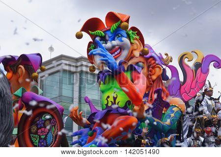 colorful carnaval floats in Pasto Colombia for the Carnaval de Blacos y negros