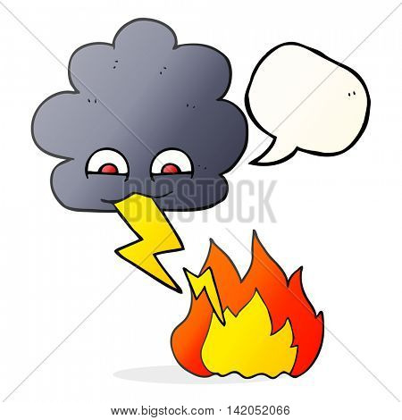 freehand drawn speech bubble cartoon thundercloud lightning strike