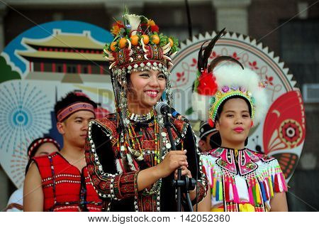 New York City - May 24 2015: National Dong Hwa University College of Indigenous Studies Dance Troupe performing at the Passport to Taiwan Festival in Union Square