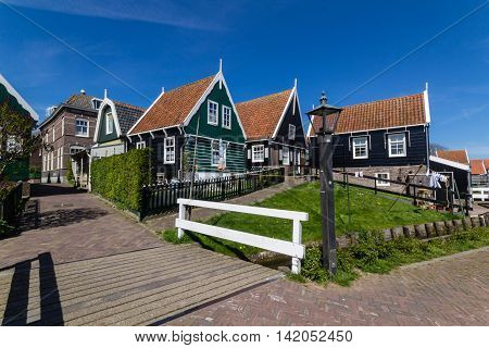 Panoramic shot of village Marken in Netherlands