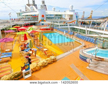 Barselona, Spaine - September 06, 2015: The cruise ship Allure of the Seas, The Royal Caribbean International. The interior view of the ship