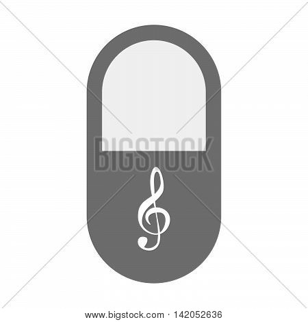 Isolated Pill Icon With A G Clef