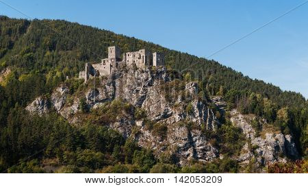 Strecno, Slovakia - September 13th, 2015: Ruins of Medieval Castle Strecno Built in the First Half of 14th Century on One Hundred Meters High Hill above River Vah