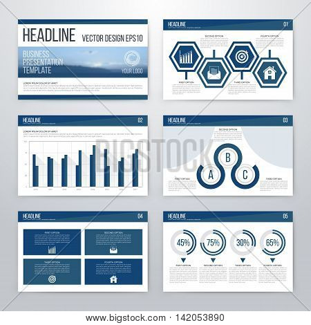 Infographics presentation template flat design set for brochure or flyer