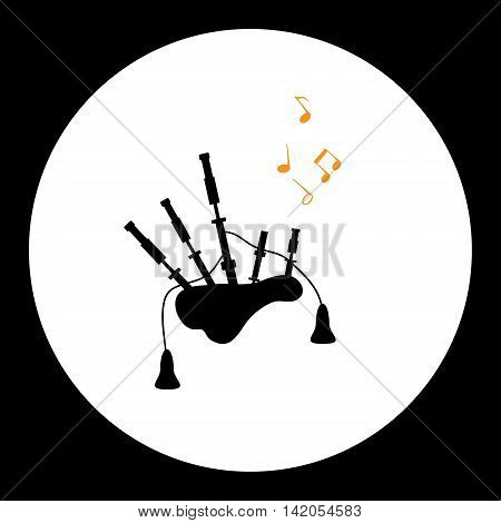 Black Isolated Simple Bagpipes Musical Instrument Eps10