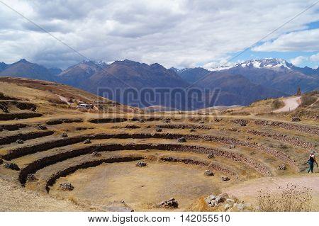the archaeological site Moray near Cuzco, Perú