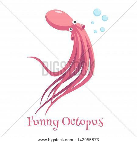 cartoon octopus swimming and blowing bubbles on a white background funny and surprised octopus with big eyes vector illustration