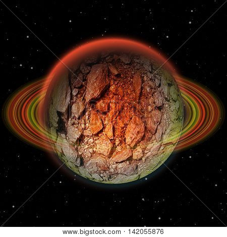 Abstract volcanic stone planet with red ring and hot scorching structure. Red, green and orange celestial body with layered ring on a black background