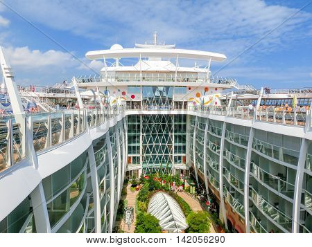 Barselona, Spaine - September 06, 2015: Royal Caribbean, Allure of the Seas sailing from Barselona on September 6 2015. The second largest passenger ship constructed behind sister ship Oasis of the Seas. View of central park