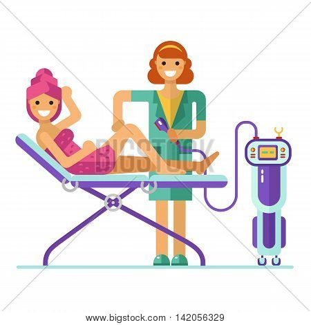 Vector flat design illustration of epilation or depilation procedure. Cosmetologist or beautician depilating legs of beautiful girl in towels.