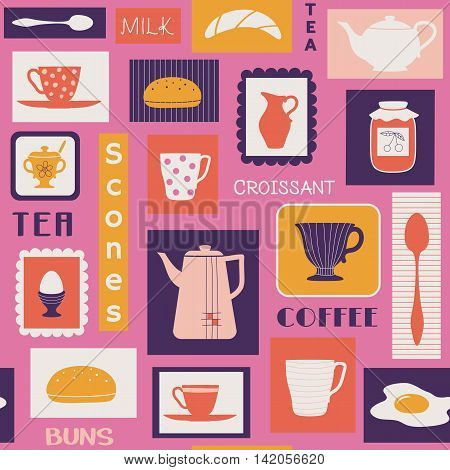 Vector seamless pattern with traditional food and tableware like plates mugs teapot. Drinks for breakfast or break coffee tea milk and bakery buns scones and eggs.