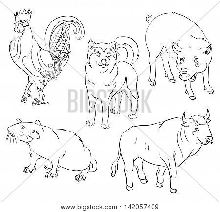Five Chinese calendar animals rooster dog pig rat and ox. For your convenience each significant element is in a separate layer. eps10