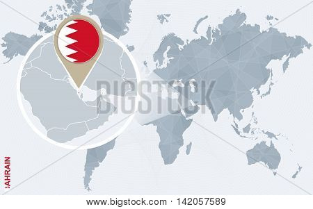 Abstract Blue World Map With Magnified Bahrain.