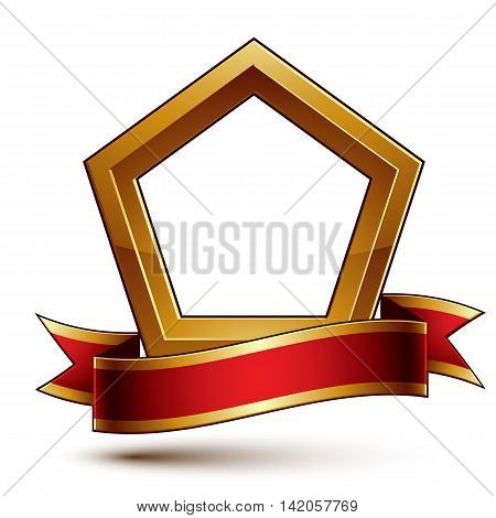 Heraldic vector template with golden outline 3d royal conceptual escutcheon with red decorative wavy ribbon.
