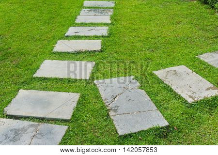 Outdoor Marble Pathway Through Green Lawn