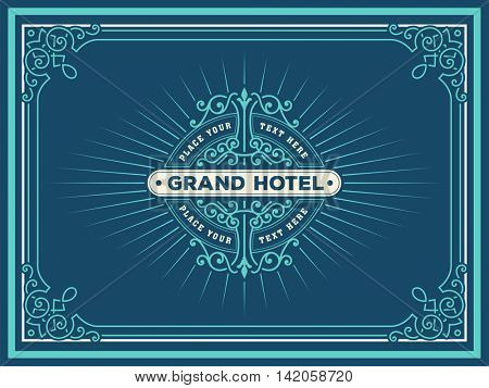 Art deco frame and label design, Resource for Hotel, Spa, Restaurant, Jewelry and other Product tags. Vector illustration