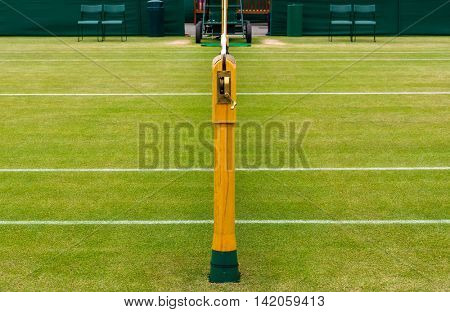 Detail of a lawn tennis court