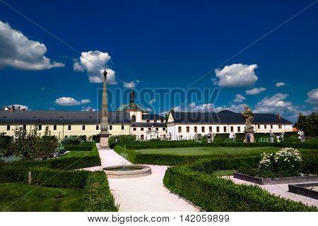 Kuks Czech Republic - August 7 2016: Ornamental garden of Kuks with statues sculptor Braun Baroque
