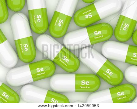 Selenium Pills Lying On White Table