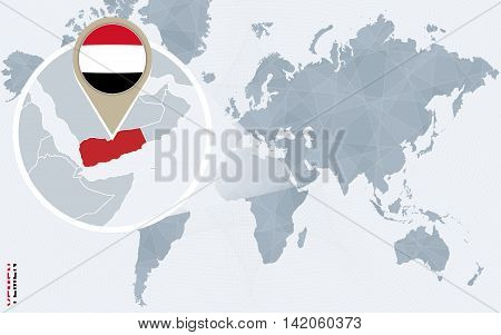 Abstract Blue World Map With Magnified Yemen.