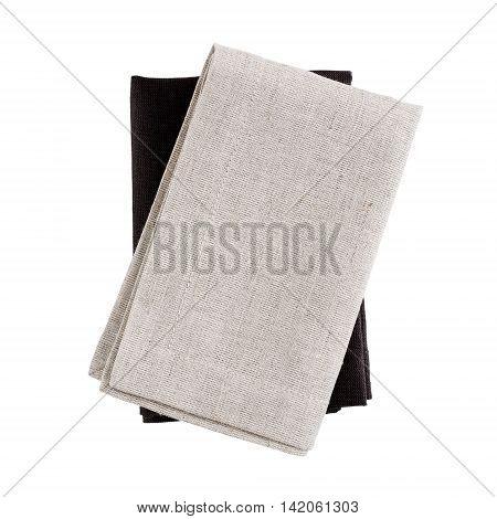 Folded fabric napkins isolated on white background