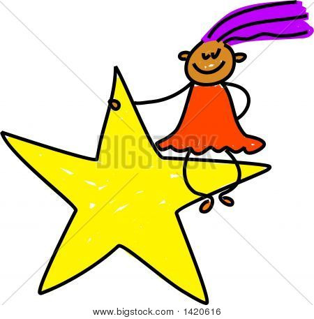 little ethnic girl sitting on a star - toddler art series poster