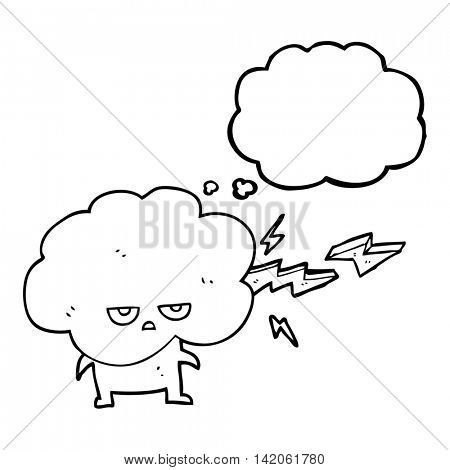 freehand drawn thought bubble cartoon raincloud character shooting lightning